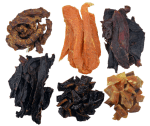 a selection of healthy natural dog treats, chicken breast and necks, kangaroo jerky, beef heart and liver and dried fish